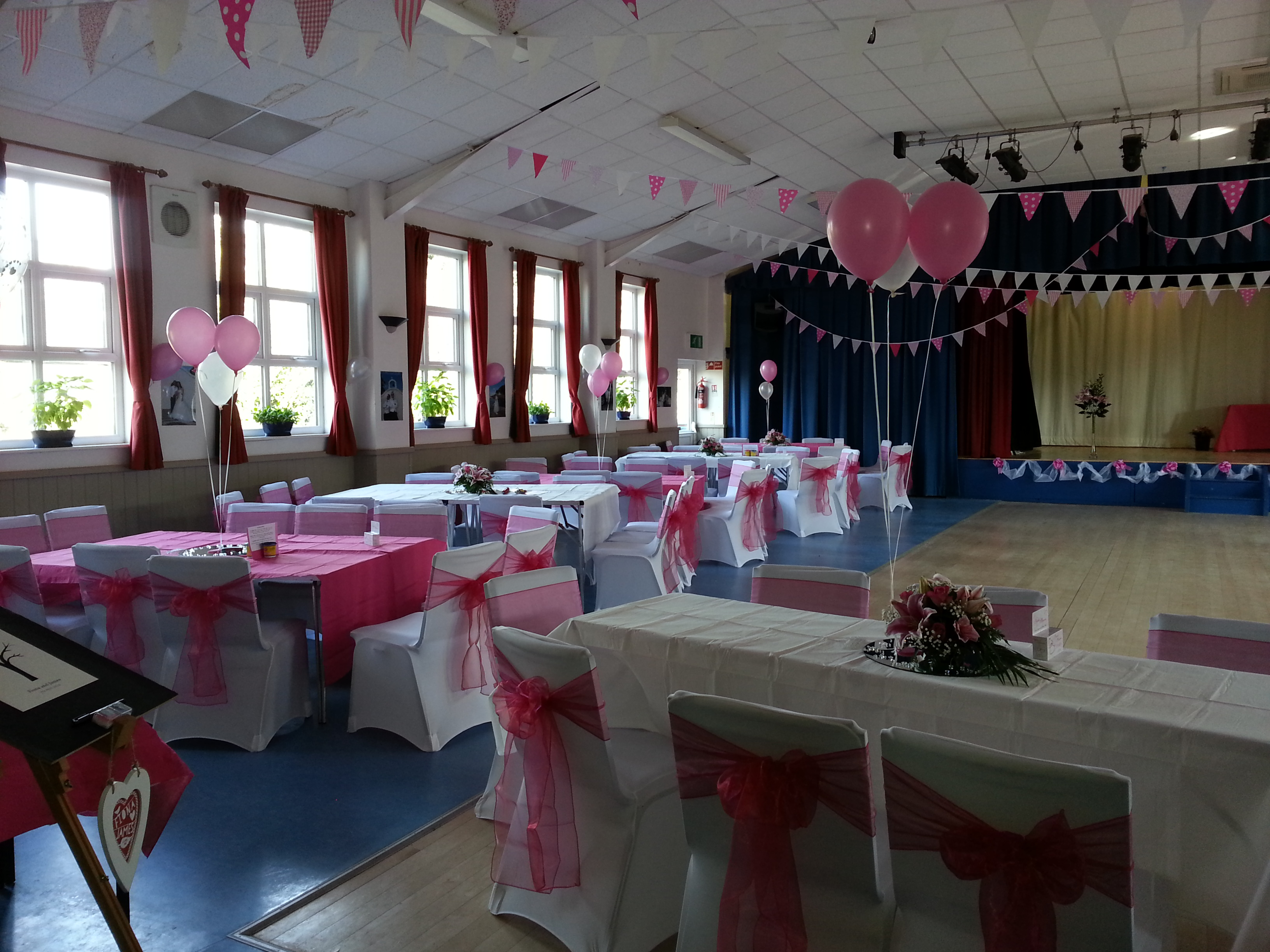 Village hall mottram st andrew wedding decor main hall junglespirit Images